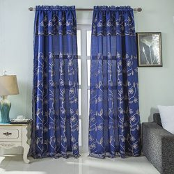 RT Designers Collection Brett Floral Embroidered Rod Pocket Single Curtain Panel with Attached V ...