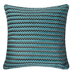 Homey Cozy Faux Silk Teal Throw Pillow Cover,High-Precision Jacquard Cheveron Bow Geometric Larg ...