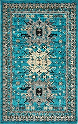 Classic Traditional Geometric Persian Design Area rugs Turquoise 4′ 11 x 8′ Qashqai  ...