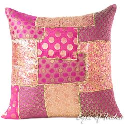 Eyes of India 20″ Pink Silk Brocade Colorful Decorative Throw Sofa Couch Pillow Cushion Co ...