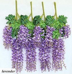 Miyaya 24 Pieces Realistic Artificial Silk Wisteria Vine Ratta Silk Hanging Flower Plant for Hom ...