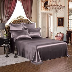 THXSILK Silk Sheet Set 4 Pcs, 19 Momme Silk Bed Sheets with Fine Embroidery, Luxury Bedding Sets ...