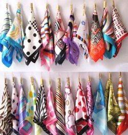 YOYOSTORE 10 Pc Mix Style Silk Feel Scarf Square Neck Hand Hat Purse Sash Hair Scarf Shawl Wrap  ...