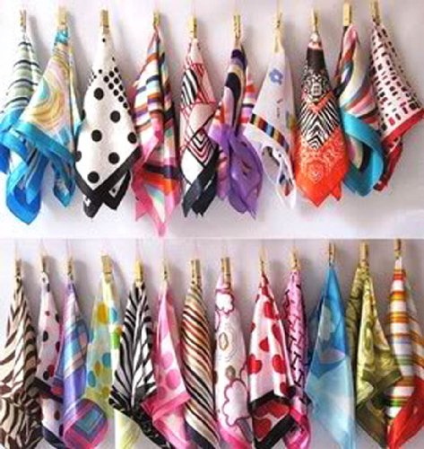 YOYOSTORE 10 Pc Mix Style Silk Feel Scarf Square Neck Hand Hat Purse Sash Hair Scarf Shawl Wrap  ...
