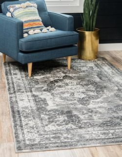 Unique Loom Monaco Collection Traditional Vintage Gray Home Décor Area Rug (5′ x 8′)