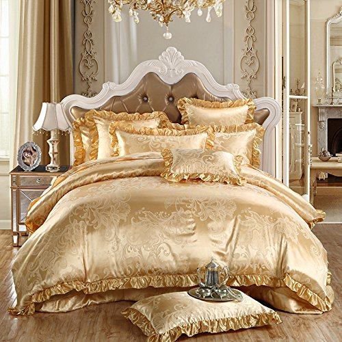 TheFit Paisley Textile Bedding for Young Adult W148 Gold Europe Duvet Cover Set 100% Silk and Co ...