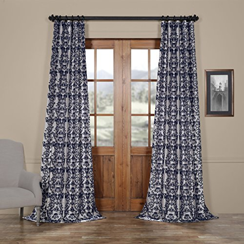 HPD HALF PRICE DRAPES PTFFLK-C7D-96 Firenze Flocked Faux Silk Curtain, Silver & Blue, 50 x 96