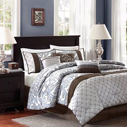 Madison Park Crosby King Size Bed Comforter Set Bed In A Bag – Brown, Silver, Blue, Pieced ...