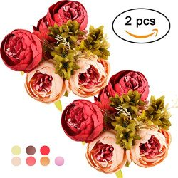 Ogrmar Vintage Artificial Peony Silk Flowers Bouquet for Decoration (Dark Pink x2)