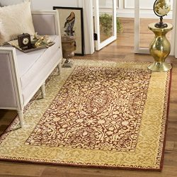 Safavieh Silk Road Collection SKR213G Handmade Maroon and Ivory New Zealand Wool Area Rug (5&#82 ...
