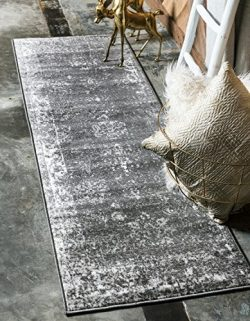 Unique Loom Sofia Collection Traditional Vintage Dark Gray Home Décor Runner Rug (2′ x 7&# ...