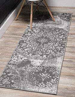 Unique Loom Sofia Collection Traditional Vintage Gray Home Décor Runner Rug (2′ x 13′)