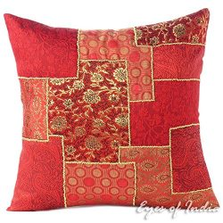 Eyes of India 16″ Burgundy Red Silk Brocade Colorful Decorative Throw Sofa Couch Pillow Cu ...