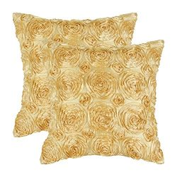 Pack of 2 CaliTime Cushion Covers Throw Pillow Cases Shells for Couch Sofa Home, Solid Stereo Ro ...