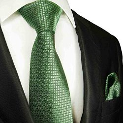 Extra Long Green Silk Men's Tie and Pocket Square by Paul Malone