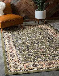 Unique Loom Sialk Hill Collection Traditional Floral Overall Pattern with Border Green Home Déco ...