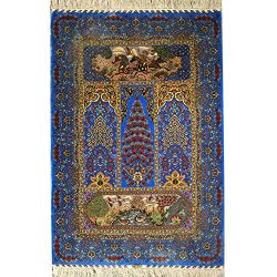 YILONG CARPET Yilong 3'x4.5′ Blue Silk Rugs and Carpets Oriental Persian Floral Wall ...