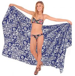 LA LEELA Soft Light Beach Bikini Cover Up Sarong Printed 88″X42″ Royal Blue_2634