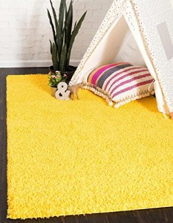 Unique Loom Solo Solid Shag Collection Modern Plush Tuscan Sun Yellow Area Rug (9′ x 12&#8 ...