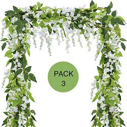 Supla 3 Pcs 18 String flowers 18.6′ Artificial Wisteria Hanging Garland in white,6.2 Ft/Pc ...