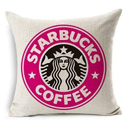 Throw Pillow Case Starbucks Coffee Logo Decor Cushion Covers Square 1818 Inch Beige Cotton Blend ...