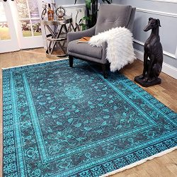 Maxy Home Serica Contemporary Teal Blue 5 ft. 3 in. x 7 ft. 7 in. Area Rug
