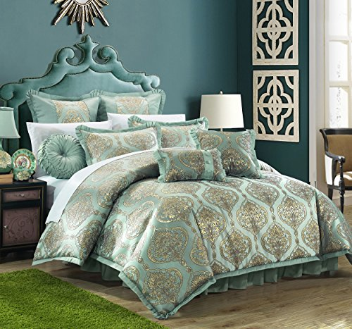 Chic Home 9 Piece Como Decorator Upholstery Quality Jacquard Motif Fabric Bedroom Comforter Set  ...