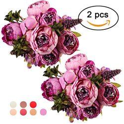 Ogrmar Vintage Artificial Peony Silk Flowers Bouquet for Decoration (Purple x2)