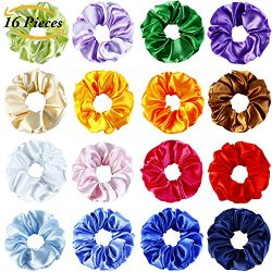 Aneco 16 Colors Silk Satin Hair Scrunchies Elastic Scrunchies Hair Bobbles Hair Ties Bands for K ...