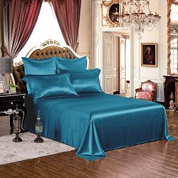 THXSILK 1 Pc Silk Flat Sheet, 19 Momme Silk Bed Sheet with Fine Embroidery, Ultra Soft Pure Mulb ...