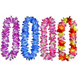 "Yansanido 41"" Pack of 4 Large Size Fully Hawaiian Ruffled Simulated Silk Flower Leis Neckl ..."