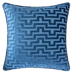Homey Cozy Modern Velvet Maze Throw Pillow Cover,Indigo Blue Luxury Soft Fuzzy Cozy Warm Slik De ...