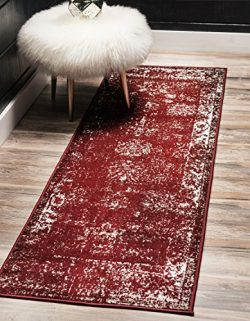 Unique Loom Sofia Collection Traditional Vintage Burgundy Home Décor Runner Rug (2′ x 7&#8 ...