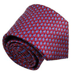 Qobod Silk Necktie Handmade Tie Mens Gift Box red sky blue whale fish