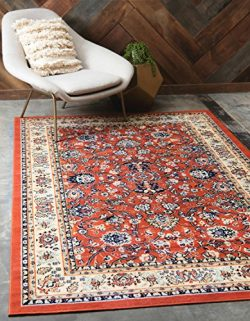 Unique Loom Kashan Collection Terracotta 10 x 13 Area Rug (9′ 10″ x 13′)