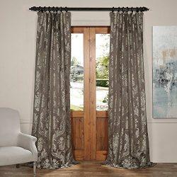 HPD HALF PRICE DRAPES JQCH-20122057-108 Magdelena Faux Silk Jacquard Curtain, Slate & Silver ...