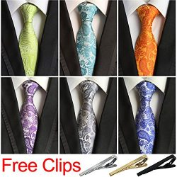 Jeatonge Lot 6 Pcs Mens Ties and 3 Free Tie Clips, Men's Classic Tie Necktie Woven Jacquar ...
