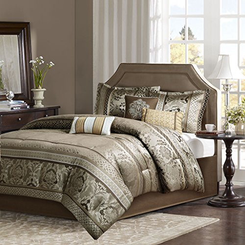 Madison Park Bellagio Queen Size Bed Comforter Set Bed In A Bag – Brown, Jacquard Damask – ...