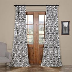 HPD HALF PRICE DRAPES Ptpch-170803B-84 Tiera Printed Faux Silk Taffeta Blackout Curtain, 50 x 84 ...