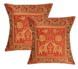Lalhaveli Indian Handmade Elephant Design Silk Cushion Covers 16 x 16 Inch Set of 2 Pcs