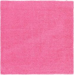 Unique Loom Solo Solid Shag Collection Modern Plush Taffy Pink Square Rug (8′ x 8′)