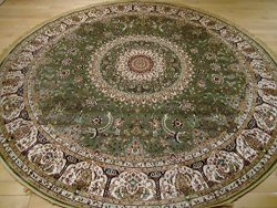 Stunning Green Silk Rug Persian Area Rugs 6×6 Round Shape Rugs Foyer Circle Rugs Dining Roo ...