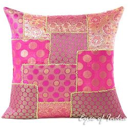 Eyes of India 16″ Pink Silk Brocade Colorful Decorative Throw Sofa Couch Pillow Cushion Co ...
