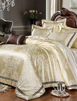 wwgy Luxury Jacquard Silk Cotton King Queen Size 4pcs Bedding Set Pillowcase Duvet CoverHome Tex ...