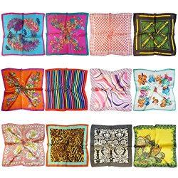 LilMents 12 Mixed Designs Small Square Satin Womens Neck Head Scarf Scarves Bundle Lot Set (Set G)