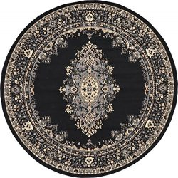 A2Z Rug Traditional Black 8′ Feet Round Mashad Collection Area rug Perfect for any floor & ...