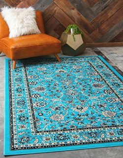 Unique Loom Kashan Collection Traditional Floral Turquoise Home Décor Area Rug (9′ x 12&#8 ...