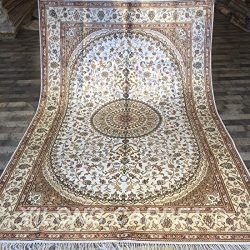 YILONG CARPET Yilong 6'x9′ Hand Knotted Persian Silk Carpet Classic Oriental Nain Me ...