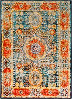 Surya Silk Road-2′ x 3′ Area Rug 2′ x 3, 2′ x 3′, Orange, Blue