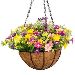 Mixinie Artificial Daisy Flowers, Artificial Hanging Planets Silk Flower. Hanging Basket with Ch ...